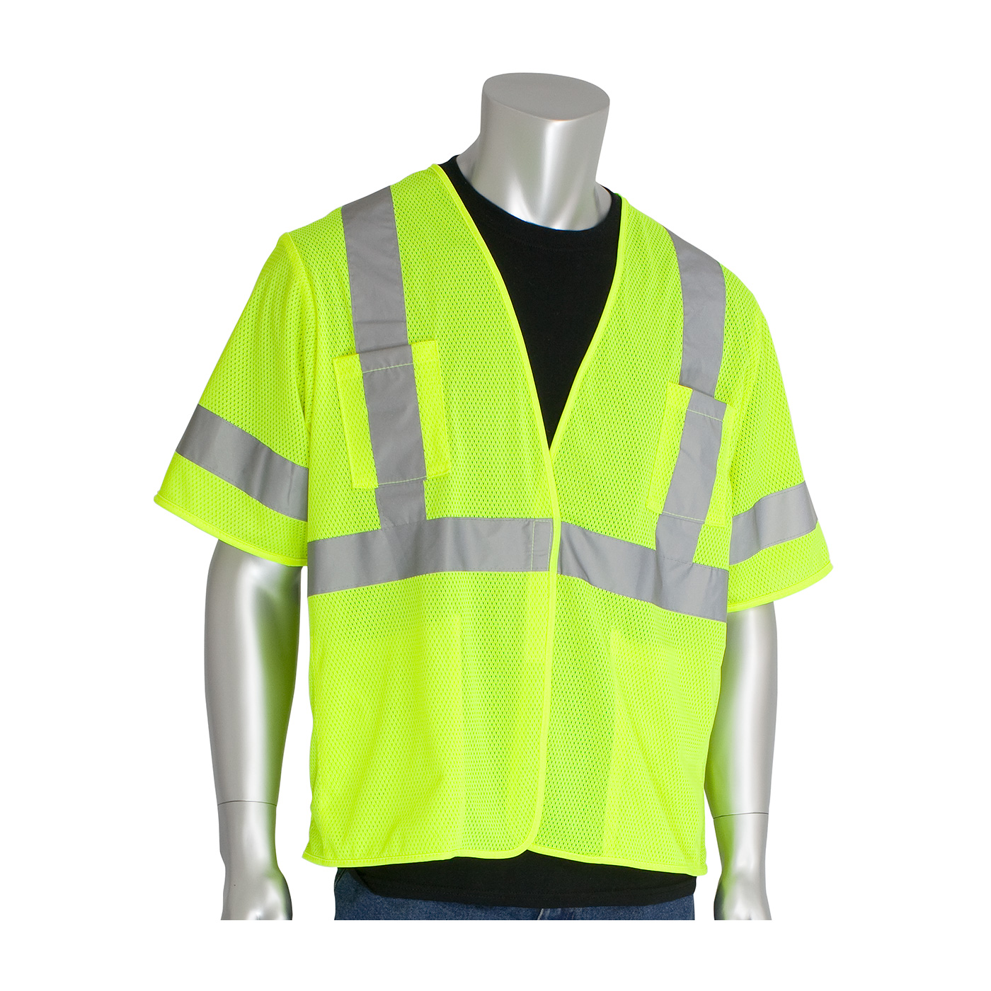 Ansi Type R Class 3 Value Four Pocket Mesh Reflective Vest